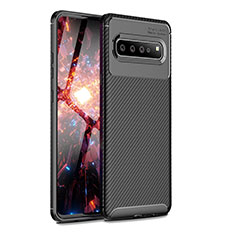 Silicone Candy Rubber TPU Twill Soft Case Cover for Samsung Galaxy S10 5G SM-G977B Black