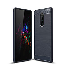 Silicone Candy Rubber TPU Twill Soft Case Cover for Sony Xperia 1 Blue