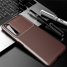 Silicone Candy Rubber TPU Twill Soft Case Cover for Sony Xperia 1 II Brown