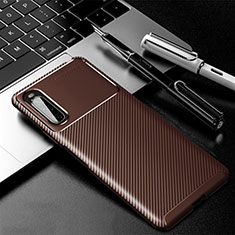 Silicone Candy Rubber TPU Twill Soft Case Cover for Sony Xperia 10 II Brown