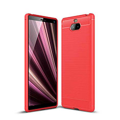 Silicone Candy Rubber TPU Twill Soft Case Cover for Sony Xperia 10 Plus Red