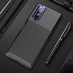 Silicone Candy Rubber TPU Twill Soft Case Cover for Sony Xperia 5 Black