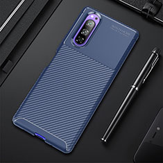 Silicone Candy Rubber TPU Twill Soft Case Cover for Sony Xperia 5 Blue