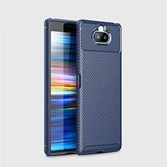 Silicone Candy Rubber TPU Twill Soft Case Cover for Sony Xperia 8 Lite Blue