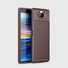 Silicone Candy Rubber TPU Twill Soft Case Cover for Sony Xperia 8 Lite Brown