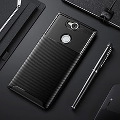 Silicone Candy Rubber TPU Twill Soft Case Cover for Sony Xperia XA2 Plus Black