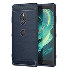Silicone Candy Rubber TPU Twill Soft Case Cover for Sony Xperia XZ3 Blue