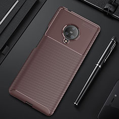 Silicone Candy Rubber TPU Twill Soft Case Cover for Vivo Nex 3 Brown
