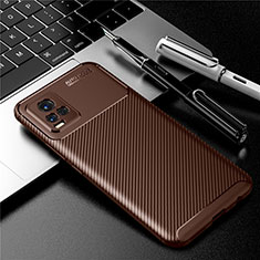Silicone Candy Rubber TPU Twill Soft Case Cover for Vivo V20 Brown