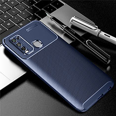 Silicone Candy Rubber TPU Twill Soft Case Cover for Vivo Y50 Blue