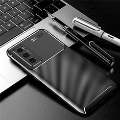 Silicone Candy Rubber TPU Twill Soft Case Cover for Vivo Y70 (2020) Black