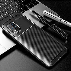 Silicone Candy Rubber TPU Twill Soft Case Cover for Xiaomi Mi 10 Lite Black