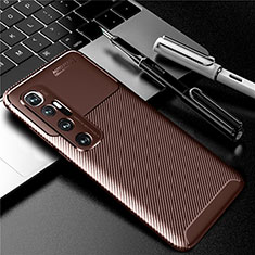 Silicone Candy Rubber TPU Twill Soft Case Cover for Xiaomi Mi 10 Ultra Brown