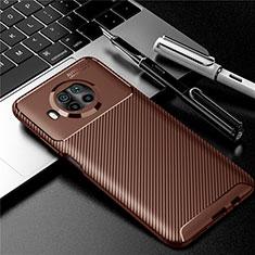 Silicone Candy Rubber TPU Twill Soft Case Cover for Xiaomi Mi 10i 5G Brown