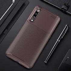 Silicone Candy Rubber TPU Twill Soft Case Cover for Xiaomi Mi 9 Brown