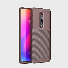 Silicone Candy Rubber TPU Twill Soft Case Cover for Xiaomi Mi 9T Brown