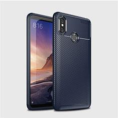Silicone Candy Rubber TPU Twill Soft Case Cover for Xiaomi Mi Max 3 Blue