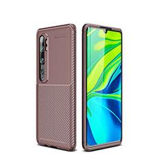 Silicone Candy Rubber TPU Twill Soft Case Cover for Xiaomi Mi Note 10 Pro Brown