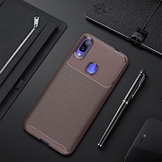 Silicone Candy Rubber TPU Twill Soft Case Cover for Xiaomi Redmi 7 Brown