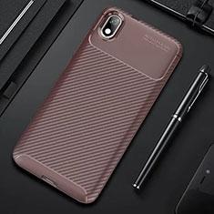 Silicone Candy Rubber TPU Twill Soft Case Cover for Xiaomi Redmi 7A Brown
