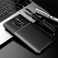 Silicone Candy Rubber TPU Twill Soft Case Cover for Xiaomi Redmi Note 9 Black
