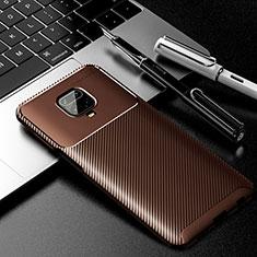 Silicone Candy Rubber TPU Twill Soft Case Cover for Xiaomi Redmi Note 9 Pro Brown