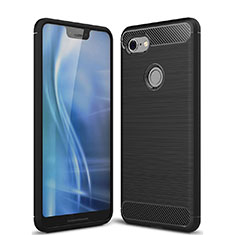 Silicone Candy Rubber TPU Twill Soft Case Cover S01 for Google Pixel 3 XL Black