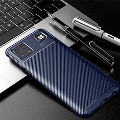 Silicone Candy Rubber TPU Twill Soft Case Cover S01 for LG K92 5G Blue