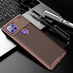Silicone Candy Rubber TPU Twill Soft Case Cover S01 for Motorola Moto G 5G Brown