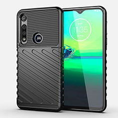 Silicone Candy Rubber TPU Twill Soft Case Cover S01 for Motorola Moto G8 Play Black