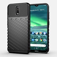 Silicone Candy Rubber TPU Twill Soft Case Cover S01 for Nokia 2.3 Black