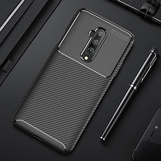 Silicone Candy Rubber TPU Twill Soft Case Cover S01 for OnePlus 7T Pro 5G Black