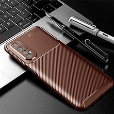 Silicone Candy Rubber TPU Twill Soft Case Cover S01 for Realme Narzo 20 Pro Brown