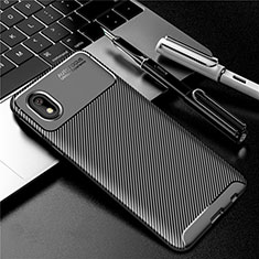 Silicone Candy Rubber TPU Twill Soft Case Cover S01 for Samsung Galaxy A01 Core Black