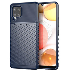 Silicone Candy Rubber TPU Twill Soft Case Cover S01 for Samsung Galaxy A42 5G Blue