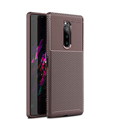 Silicone Candy Rubber TPU Twill Soft Case Cover S01 for Sony Xperia 1 Brown