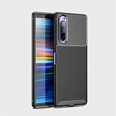 Silicone Candy Rubber TPU Twill Soft Case Cover S01 for Sony Xperia 5 Black