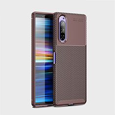 Silicone Candy Rubber TPU Twill Soft Case Cover S01 for Sony Xperia 5 Brown