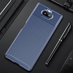 Silicone Candy Rubber TPU Twill Soft Case Cover S01 for Sony Xperia 8 Lite Blue