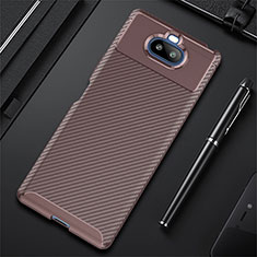 Silicone Candy Rubber TPU Twill Soft Case Cover S01 for Sony Xperia 8 Lite Brown