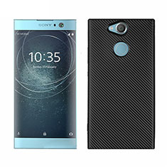 Silicone Candy Rubber TPU Twill Soft Case Cover S01 for Sony Xperia XA2 Plus Black