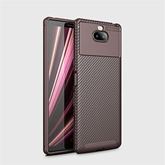 Silicone Candy Rubber TPU Twill Soft Case Cover S01 for Sony Xperia XA3 Brown
