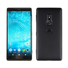 Silicone Candy Rubber TPU Twill Soft Case Cover S01 for Sony Xperia XZ2 Black