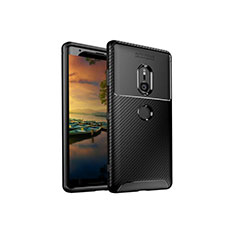 Silicone Candy Rubber TPU Twill Soft Case Cover S01 for Sony Xperia XZ3 Black