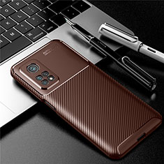 Silicone Candy Rubber TPU Twill Soft Case Cover S01 for Xiaomi Mi 10T 5G Brown