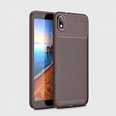 Silicone Candy Rubber TPU Twill Soft Case Cover S01 for Xiaomi Redmi 7A Brown