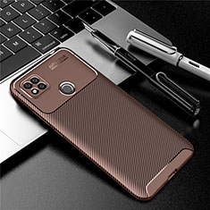 Silicone Candy Rubber TPU Twill Soft Case Cover S01 for Xiaomi Redmi 9C NFC Brown