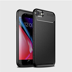 Silicone Candy Rubber TPU Twill Soft Case Cover S02 for Apple iPhone SE (2020) Black