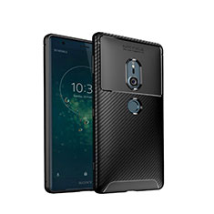 Silicone Candy Rubber TPU Twill Soft Case Cover S02 for Sony Xperia XZ2 Black