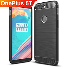 Silicone Candy Rubber TPU Twill Soft Case Cover T01 for OnePlus 5T A5010 Black